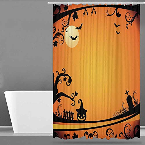 VIVIDX Hotel Style Shower Curtain,Vintage Halloween,Halloween Themed Image Eerie Atmosphere Gravestone Evil Pumpkin Moon,Waterproof Colorful Funny,W48x72L Orange Black -