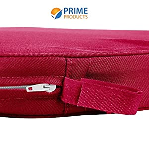 Chair Pad | Seat Padded Cushion with a Polycore Thread Soft Fabric with Straps and Removable Zippered Cover (Wine Red)