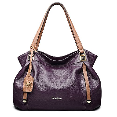 ZOOLER Genuine Leather Handbags for Women Top Handle Bags Lady s Purse  Purple