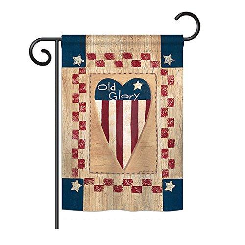 Breeze Decor G161082 Old Glory Heart Americana Patriotic Impressions Decorative Vertical Garden Flag 13