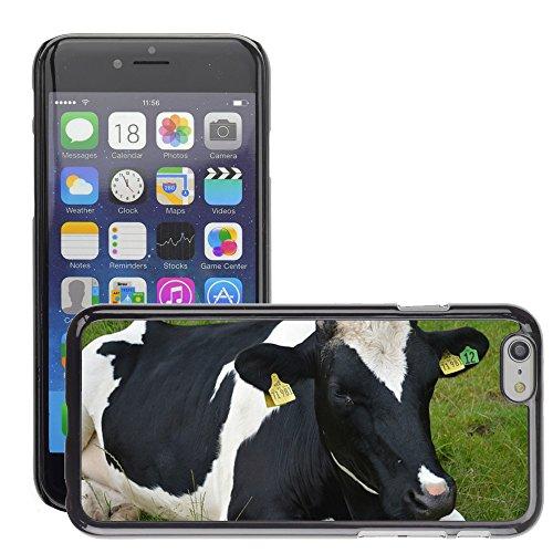 "Just Phone Cases Hard plastica indietro Case Custodie Cover pelle protettiva Per // M00127913 Vache Fermier Noir Blanc herbe des // Apple iPhone 6 PLUS 5.5"""