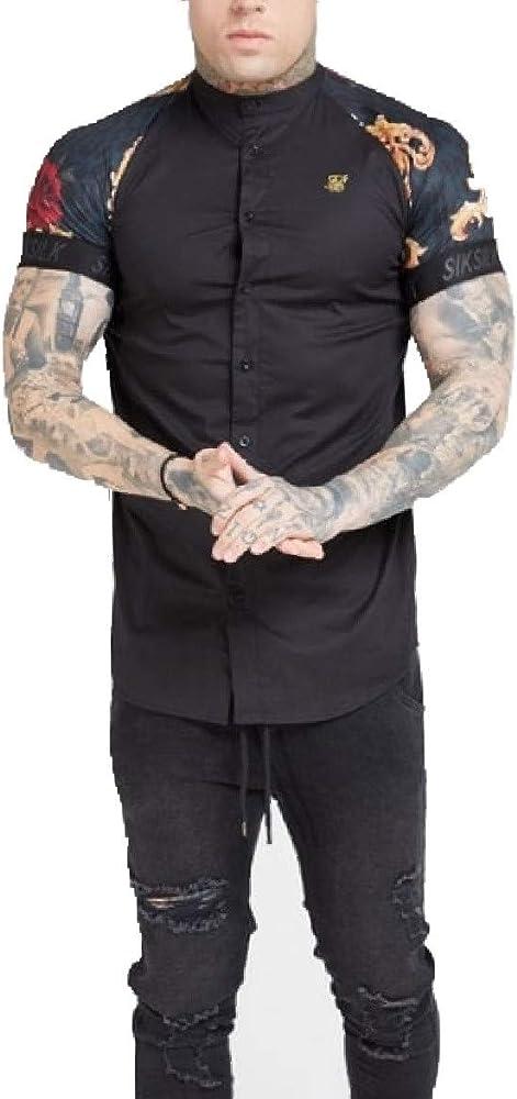 Sik Silk - SS 15573 Grandad Collar Shirt - Camisa Manga Corta - Hombre (L): Amazon.es: Ropa y accesorios