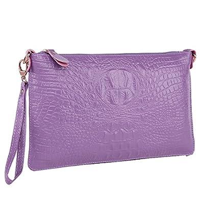 Shengdilu Women's Genuine Leather Purse Wristlet Floral Print Cowskin Shoulder Bag Crossbody