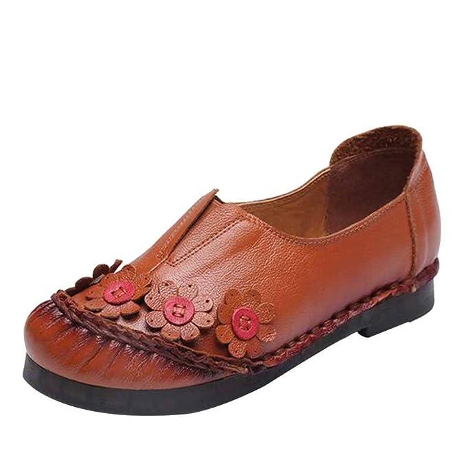 Mocasines De Mujer Estilo étnico Zapatos Con Flores Zapatos De Cuero Botas Retro Cabeza Redonda Zapatos Hechos A Mano De Boca Profunda: Amazon.es: Ropa y ...