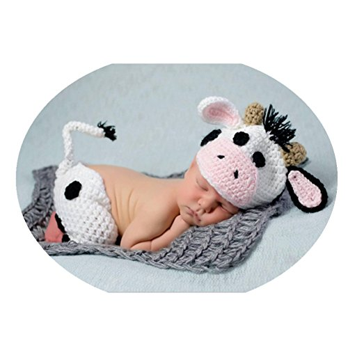 Coberllus Newborn Baby Photo Props Outfits Cows Hat Pants for Girls Photography -