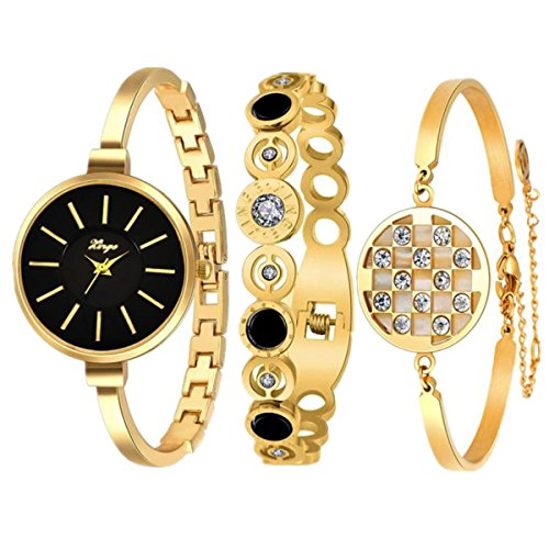 Sunward 2018 Women's Golden Series 609GB Women Vintage Rhinestone Bangle Watch And Bracelet ()
