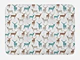 Ambesonne Deer Bath Mat, Animals with Old Text Pattern Christmas Theme Vintage Inspired Illustration, Plush Bathroom Decor Mat with Non Slip Backing, 29.5 W X 17.5 W Inches, Turquoise Brown Beige