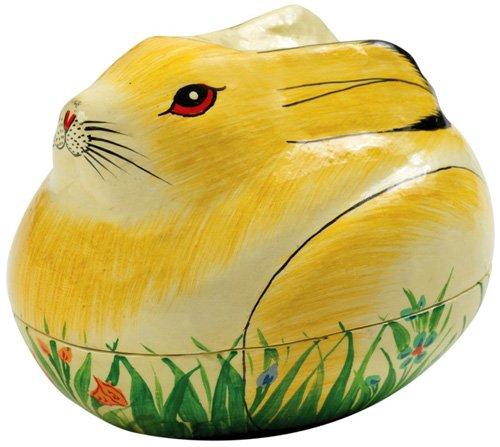 Papier Mâché Painted Bunny Box - Easter Decoration or Trin