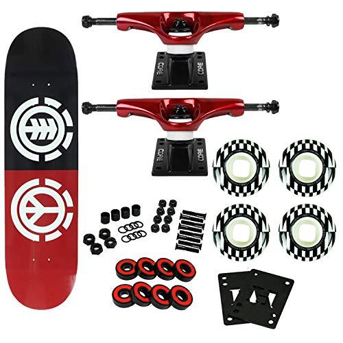 "Element Skateboards Complete Peace Logo 7.7"" Element Wheels Red Trucks"