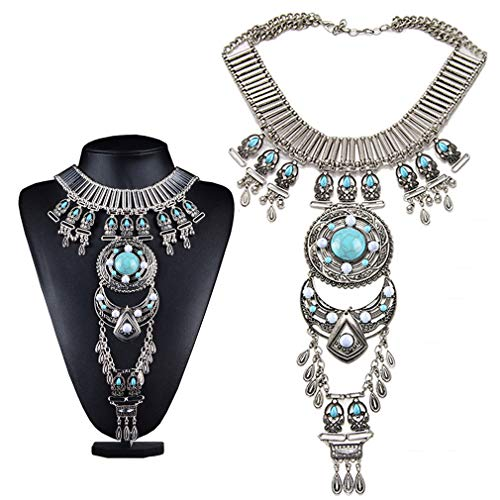 Black Sales Friday Cyber Sales Monday & Deals Week 2018-Bluegoog Womens Vintage Boho Statement Turquoise Necklace Ethnic Tribal Long Beaded Jewelry (Silver)