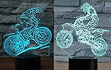 Pack of 2 Mountain Bike & Motocycle 3D Illusion Nightlight Lamp,7 Colors Changing Lighting Table Desk Lamp for Home Decor - Best Gift for Kids/Friends/Birthdays/Holidays