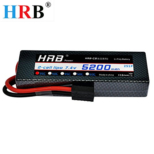 HRB 5200mAh 7.4V 2S 35C LiPo Battery Hard Case with Traxxas Plug for RC Car Losi Traxxas Slash Buggy Team Associated