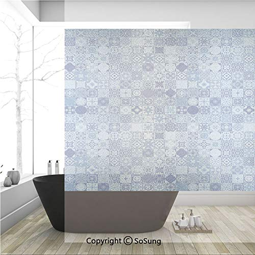 3D Decorative Privacy Window Films,Patchwork Style Geometric Squares with Various Portuguese Pattern,No-Glue Self Static Cling Glass Film for Home Bedroom Bathroom Kitchen Office 36x36 Inch