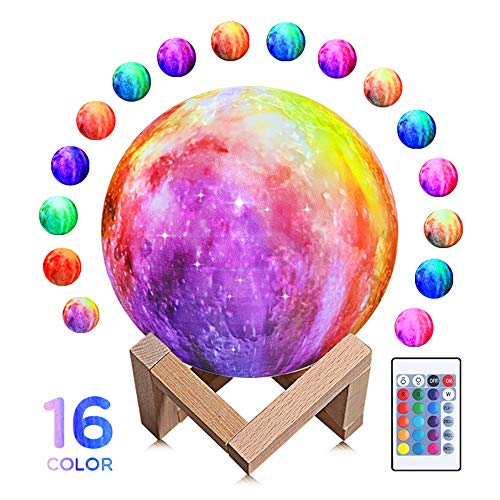 Moon Lamp 3D Moon Light Rechargeable Starry Moon Lamp Night Light 16 LED Colors Remote Touch Control Dimmable for Home Décor Baby Kids Birthday Christmas Gifts - 5.9 inch