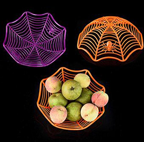 Set of 3 Halloween Thanksgiving Decorative Spider Web Candy Biscuit Snack Fruit Plate Multifunctional Basket For Kindergarten Home Dining Room Bars Halloween Props Party Supplies (Creepy Halloween Party Snacks)