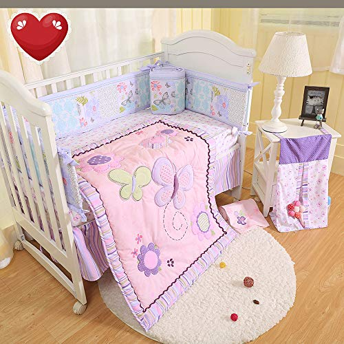 (Brandream Crib Bedding Sets for Girls with Bumpers Butterfly Floral Baby Nursery Bedding, Pink & Purple, 9 Pieces)