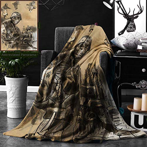 Unique Custom Digital Print Flannel Blankets War Vintage Hand Drawn Image From World Soldiers In Mask Iconic Battle Theme Brown Super Soft Blanketry for Bed Couch, Throw Blanket 40 x 60 Inches]()