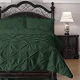 3-Piece Pinch Pleat Comforter Set - Goose Down Alternative Filling - Perfect for Autumn/Winter, California King, Hunter Green