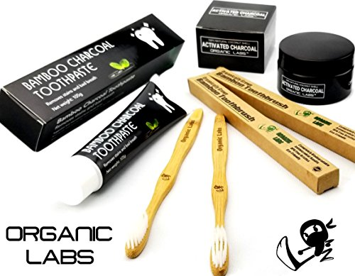 Organic Labs Activated Coconut Charcoal Toothpaste Teeth Whitener Bundle - Natural Shells Shell Pen
