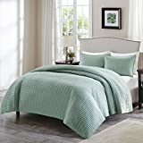 quilted duvet cover queen - Comfort Spaces - Kienna Quilt Mini Set - 3 Piece - Seafoam - Stitched Quilt Pattern - Full / Queen size, includes 1 Quilt, 2 Shams