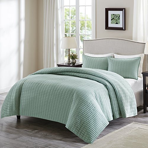 Each Quilted Sham (Comfort Spaces - Kienna Quilt Mini Set - 3 Piece - Seafoam - Stitched Quilt Pattern - Full / Queen size, includes 1 Quilt, 2 Shams)