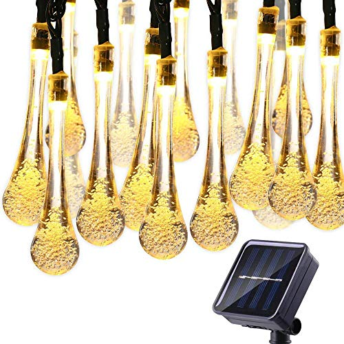 Qedertek Solar String Lights 19.2 Ft 8 Modes 30 Water Drop LED, Solar Lights for Garden Decorations, Fence, Patio, Xmas, Wedding, Party and Holiday (Warm White)