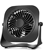4 inch Small USB Desk Fan, 2 Speeds, Lower Noise, USB Powered Mini Table Fan, 360° Up and Down, 3.8 ft Cable, Powerful Black Fan for Home and Office