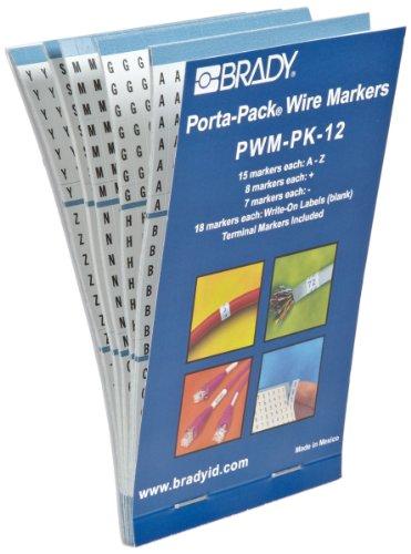 Brady PWM-PK-12 B-500 Repositionable Vinyl Cloth, Black on White Porta-Pack Wire Marker, Legend