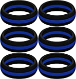 SayitBands Six of New Thin Blue Line Silicone Ring Size 11