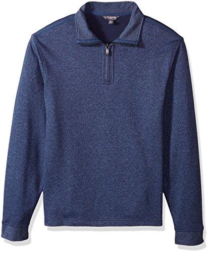 Van Heusen Men's Long Sleeve Spectator Solid 1/4 Zip Shirt, Barge, - Long Mens Pullover Sleeve