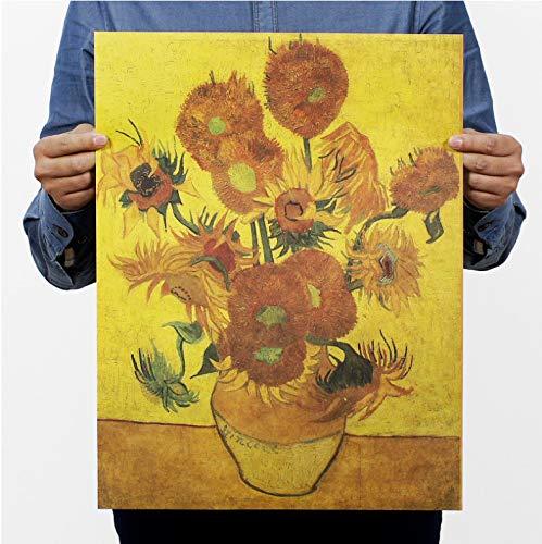 PWERWOTAM Van Gogh Girasol Vintage Kraft Paper Movie Poster Home ...