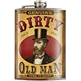 Dirty Old Man Over the Hill Gag Retirement Novelty Gift - 8oz Stainless Steel Flask - come in a GIFT BOX - by Trixie & Milo