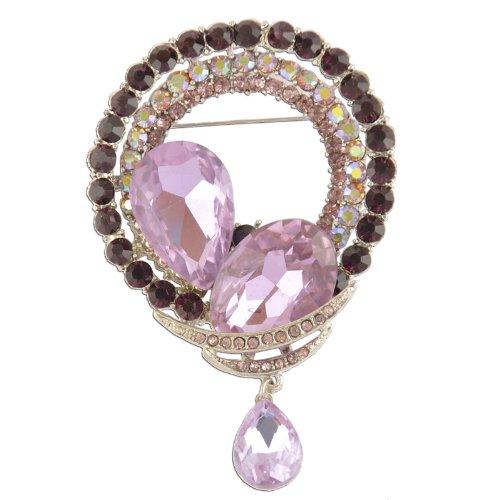 Brooch Dangling Crystal (Circular Lilac Dangling Crystal Brooch)