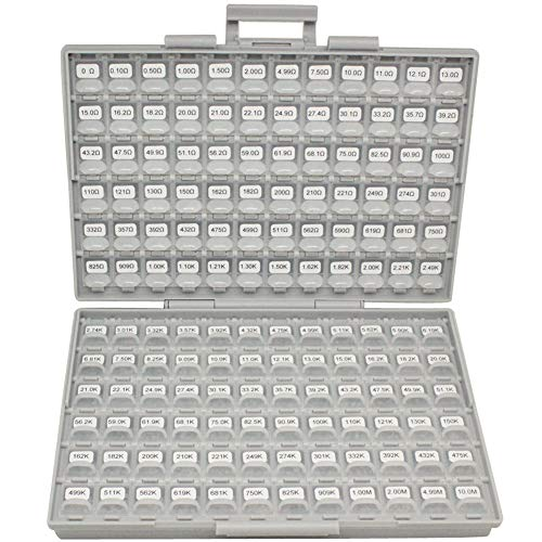 AideTek SMT SMD 0201 Size 144 Values 100pc / Value Resistance Set 1% in Assortment Box-All Enclosure 14400pcs Assorted resistors ()