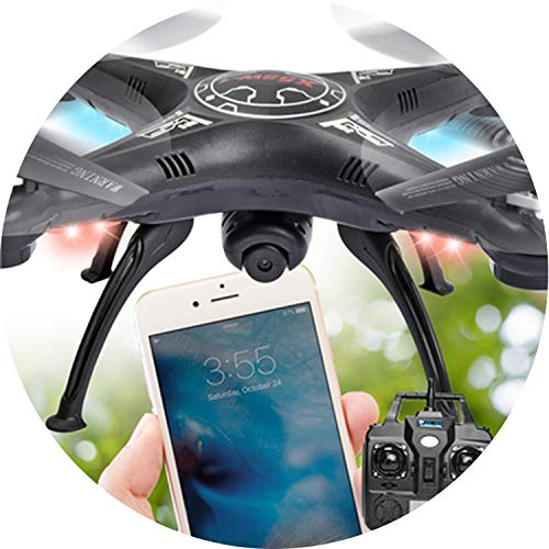 Drone X5C Rc WiFi Real Time Fvp Helicopter De Controle Remoto X5c Drones with WiFi FPV 2MP Camera Altitude Hold Quadcopter,Black
