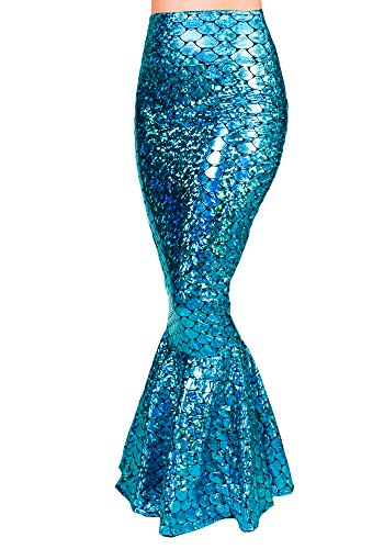 Sidecca Faux Leather Wet Look Metallic Mermaid Costume Maxi Skirt-Holo Turq-L