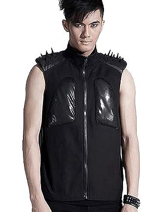 Et Punk Avec Rave Épaules Vêtements Accessoires Manches Noire Pics Veste Sur Sans Les xxRTnP