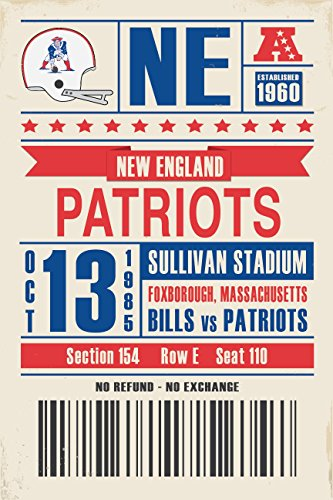 New England Patriots Retro Ticket Print