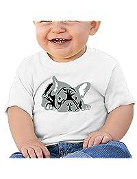 Lovely Cartoon French Bulldog Infant Baby Toddler O-neck Tee Shirt Black