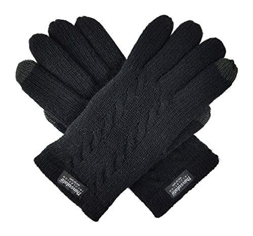 Bruceriver Ladie's Pure Wool Knit Touchscreen Gloves with Thinsulate Lining and Cable design Size M(Black Touchscreen)