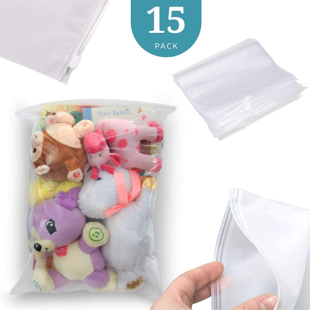 "Three Pigs Flying 15 Pack Large Ziplock Storage Bags, 5 Gallon, 18"" x 24"", Resealable Zip Lock for Food & Storage"