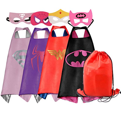 Dress up Costumes Cartoon 4-Pack Satin Capes Set with Felt Mask and Exclusive Bag for Girls (4pcs for (Cartoon Dress Up Costumes)