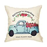 #5: Fahrendom Farmer's Market Fresh Flowers Daily Vintage Truck Watercolor Floral Retro Farmhouse Quote Cotton Linen Home Decorative Throw Pillow Case Cushion Cover with Words for Sofa Couch 18 x 18 Inch