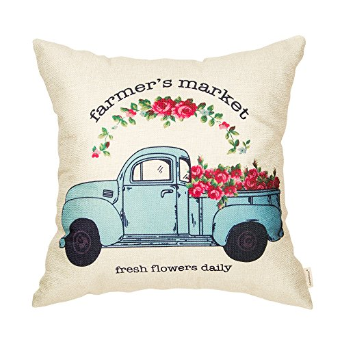 Fahrendom Farmers Market Fresh Flowers Daily Vintage Truck Watercolor Farmhouse Decor Spring Summer Decoration Cotton Linen Home Decorative Throw Pillow Case Cushion Cover for Sofa Couch 18 x 18 in