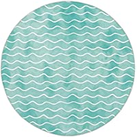Round Area Rug Mat Rug,Nautical,Soft Pastel Colored Ocean Sea Waves Pattern Summer Vibes Inspired Graphic,Turquoise White,Home Decor Mat with Non Slip Backing