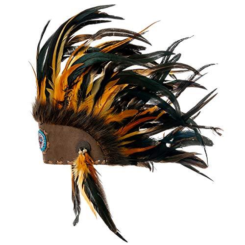 Novum Crafts Feather Headdress | Native American Indian Inspired | Orange