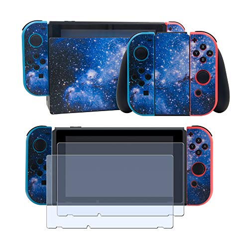 - Vinyl Skin Faceplate Sticker for Nintendo Switch Full Set Cover Decal with 2 Pcs Screen Protector-Blue Star Sky