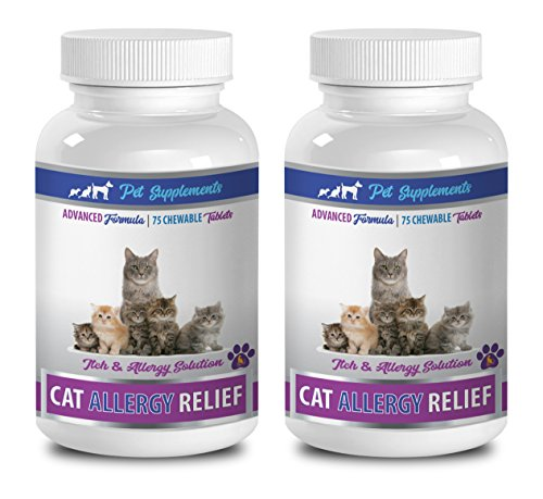 cat allergy remedy - CAT ALLERGY RELIEF COMPLEX - ITCH RELIEF SOLUTION - IMMUNE SUPPORT - VETS RECOMMENDED - vitamins for cats immune system - 2 Bottles (150 Chewable Tablets)