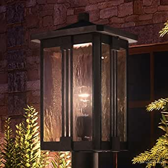 "Luxury Craftsman Outdoor Post Light, Large Size: 20.25""H x 10.5""W, with Mid-Century Modern Style Elements, Vertical Stripes Design, Natural Black Finish and Water Glass, UQL1053 by Urban Ambiance"