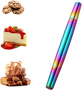 Meisha Stainless Steel Rolling Pin Rainbow Metal Non Stick Dough Roller for Baking Pizza Pastry Dough, Pie Crust & Cookie - Kitchen Cuisine Utensil Smooth Tools - 13 Inches